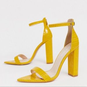 Public Desire Yellow Croc Pointed Toe Sandals